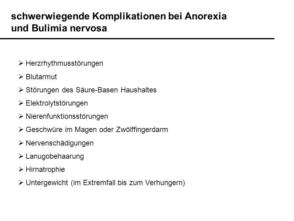 Häufige komorbide Störungen bei Anorexia und Bulimia nervosa Affektive Störungen: Major Depression u.