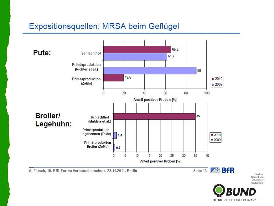 Mögliche Eintragspfade für multiresistente Keime im Biobereich – noch wissen wir wenig Zukauf von Tieren= größter Risikofaktor für die Ausbreitung von MRSA in der ökologischen Schweinehaltung (Quelle: Blaha/Sundrum 2011, TiHo Hannover) Schlachthof Bioaerosole – Keimstaub aus konventionellen Betrieben Quelle: Rösler 2011; FU Berlin