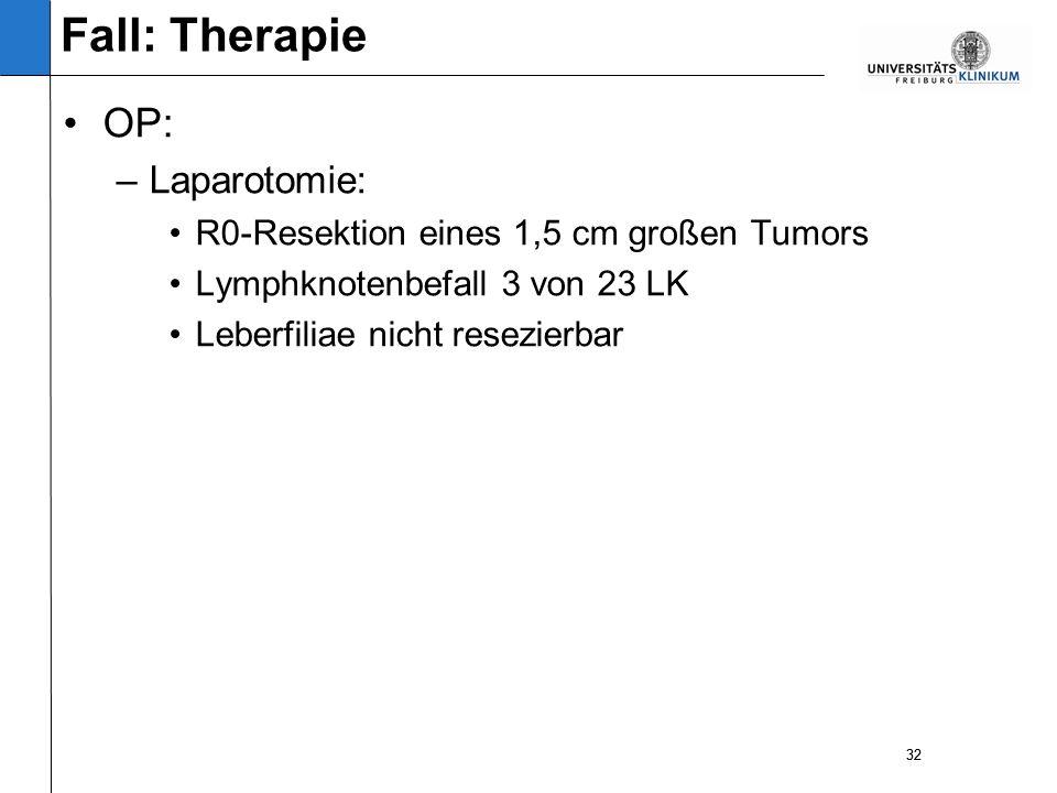 32 OP: –Laparotomie: R0-Resektion eines 1,5 cm großen Tumors Lymphknotenbefall 3 von 23 LK Leberfiliae nicht resezierbar 32 Fall: Therapie