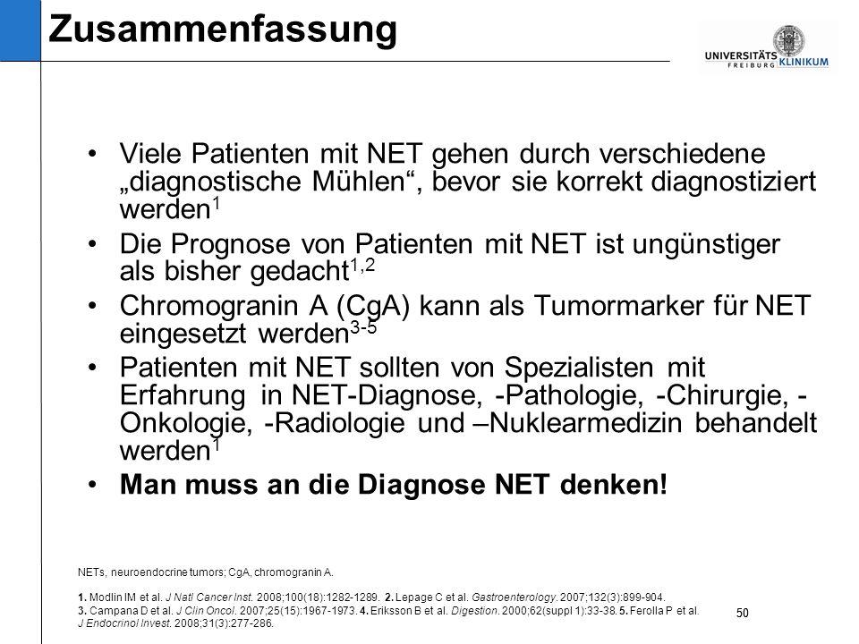 50 Viele Patienten mit NET gehen durch verschiedene diagnostische Mühlen, bevor sie korrekt diagnostiziert werden 1 Die Prognose von Patienten mit NET ist ungünstiger als bisher gedacht 1,2 Chromogranin A (CgA) kann als Tumormarker für NET eingesetzt werden 3-5 Patienten mit NET sollten von Spezialisten mit Erfahrung in NET-Diagnose, -Pathologie, -Chirurgie, - Onkologie, -Radiologie und –Nuklearmedizin behandelt werden 1 Man muss an die Diagnose NET denken.