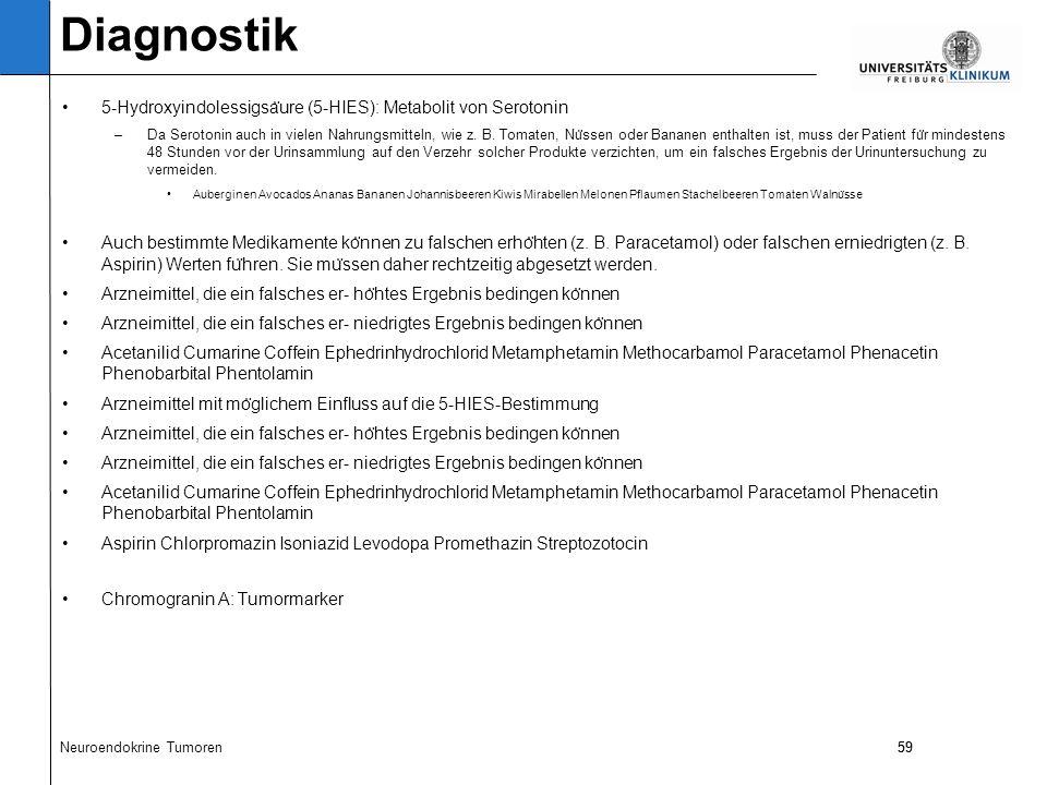 59 5-Hydroxyindolessigsa ̈ ure (5-HIES): Metabolit von Serotonin –Da Serotonin auch in vielen Nahrungsmitteln, wie z.