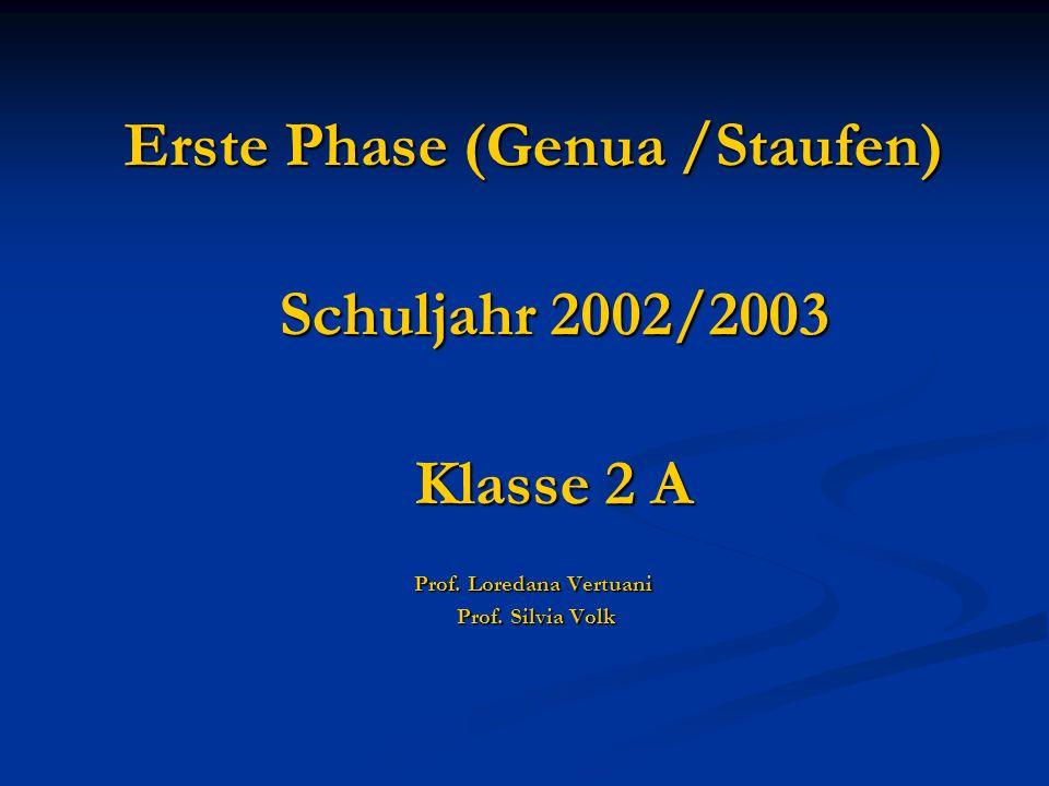 Erste Phase (Genua /Staufen) Schuljahr 2002/2003 Klasse 2 A Prof. Loredana Vertuani Prof. Silvia Volk Prof. Silvia Volk