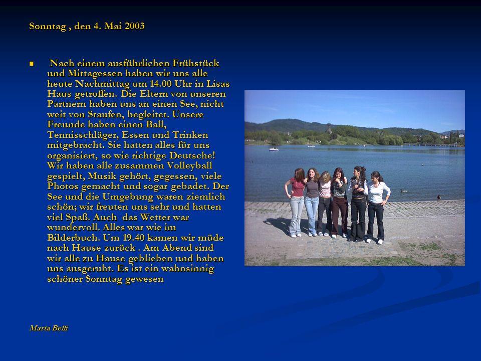 Montag, den 5.Mai 2003 Heute Morgen haben wir unsere Partner in der Schule getroffen.