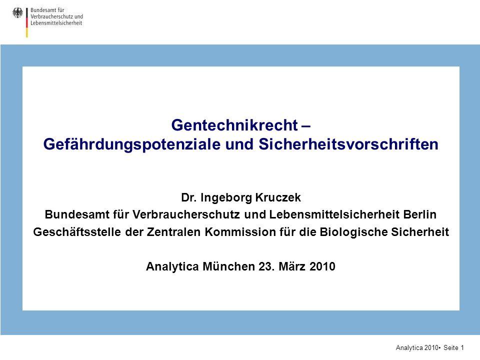 Analytica 2010 Seite 1 Gentechnikrecht – Gefährdungspotenziale und Sicherheitsvorschriften Dr. Ingeborg Kruczek Bundesamt für Verbraucherschutz und Le