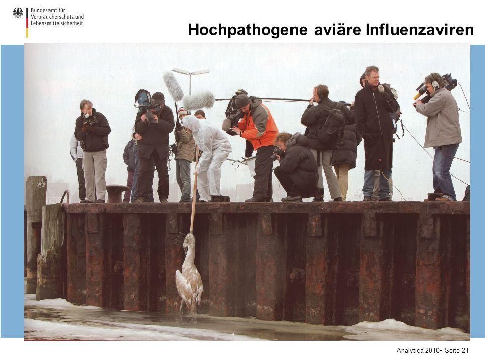 Analytica 2010 Seite 21 Hochpathogene aviäre Influenzaviren Infektion verläuft meistens symptomlos