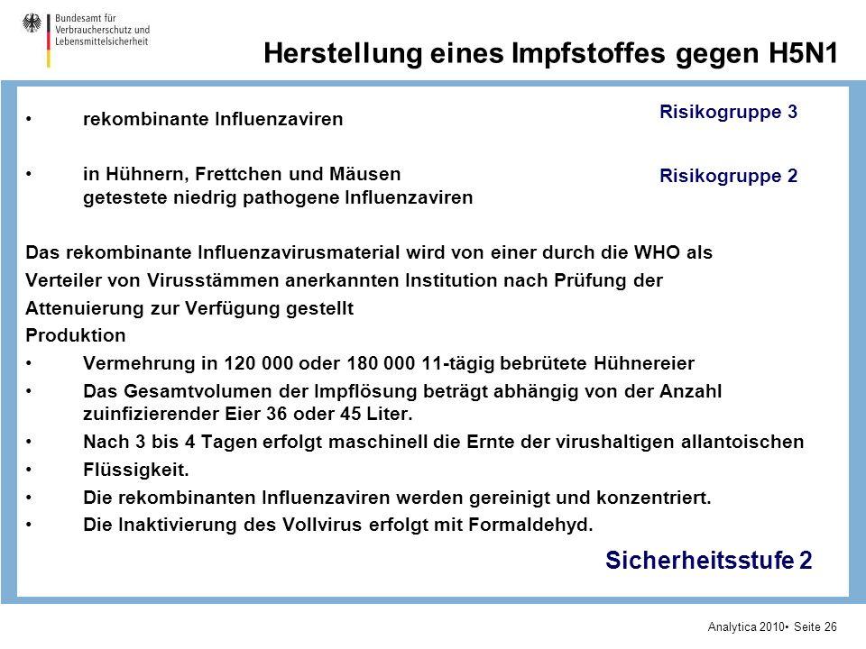 Analytica 2010 Seite 26 Herstellung eines Impfstoffes gegen H5N1 rekombinante Influenzaviren in Hühnern, Frettchen und Mäusen getestete niedrig pathogene Influenzaviren Das rekombinante Influenzavirusmaterial wird von einer durch die WHO als Verteiler von Virusstämmen anerkannten Institution nach Prüfung der Attenuierung zur Verfügung gestellt Produktion Vermehrung in 120 000 oder 180 000 11-tägig bebrütete Hühnereier Das Gesamtvolumen der Impflösung beträgt abhängig von der Anzahl zuinfizierender Eier 36 oder 45 Liter.