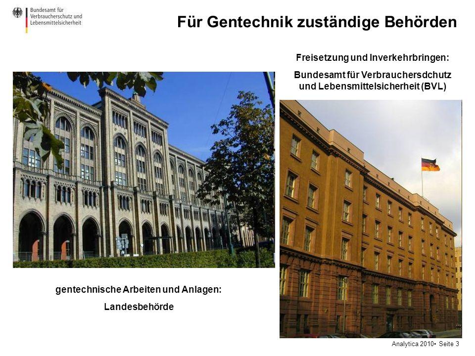 Analytica 2010 Seite 3 Für Gentechnik zuständige Behörden Freisetzung und Inverkehrbringen: Bundesamt für Verbrauchersdchutz und Lebensmittelsicherhei