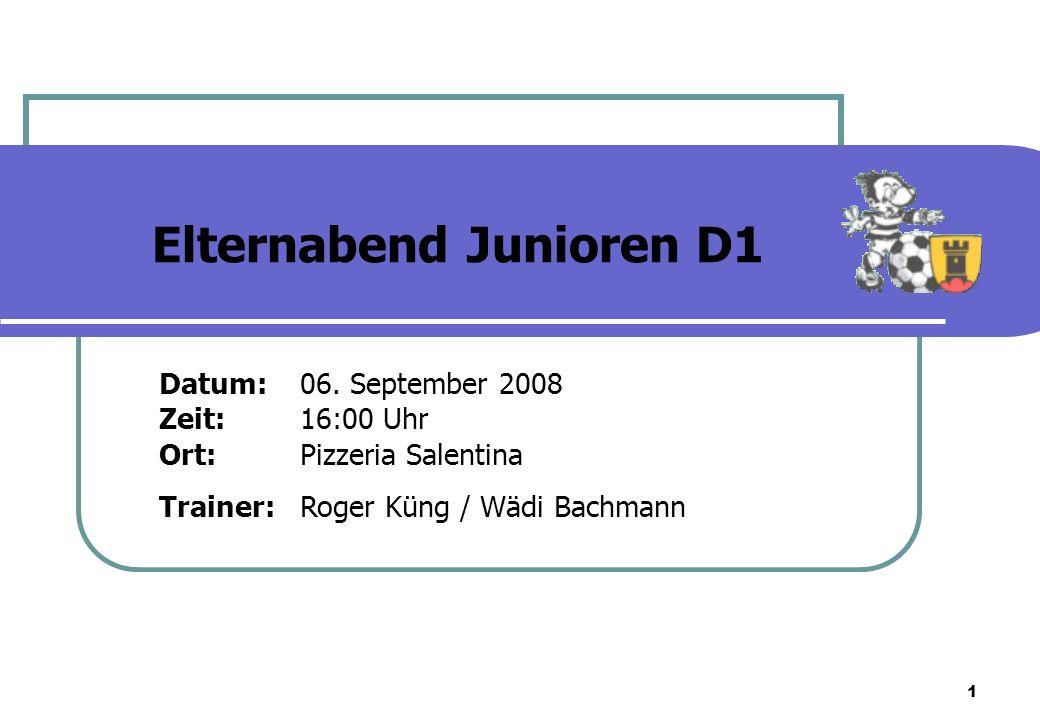 1 Datum:06. September 2008 Zeit:16:00 Uhr Ort:Pizzeria Salentina Trainer:Roger Küng / Wädi Bachmann Elternabend Junioren D1