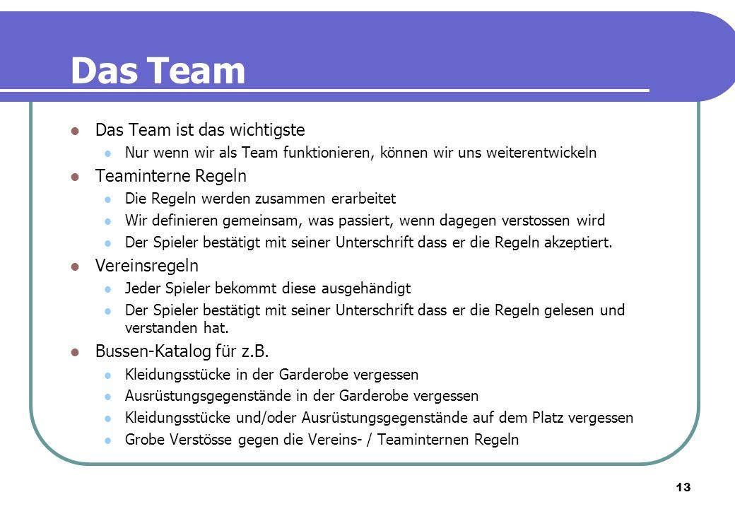 13 Das Team Das Team ist das wichtigste Nur wenn wir als Team funktionieren, können wir uns weiterentwickeln Teaminterne Regeln Die Regeln werden zusa