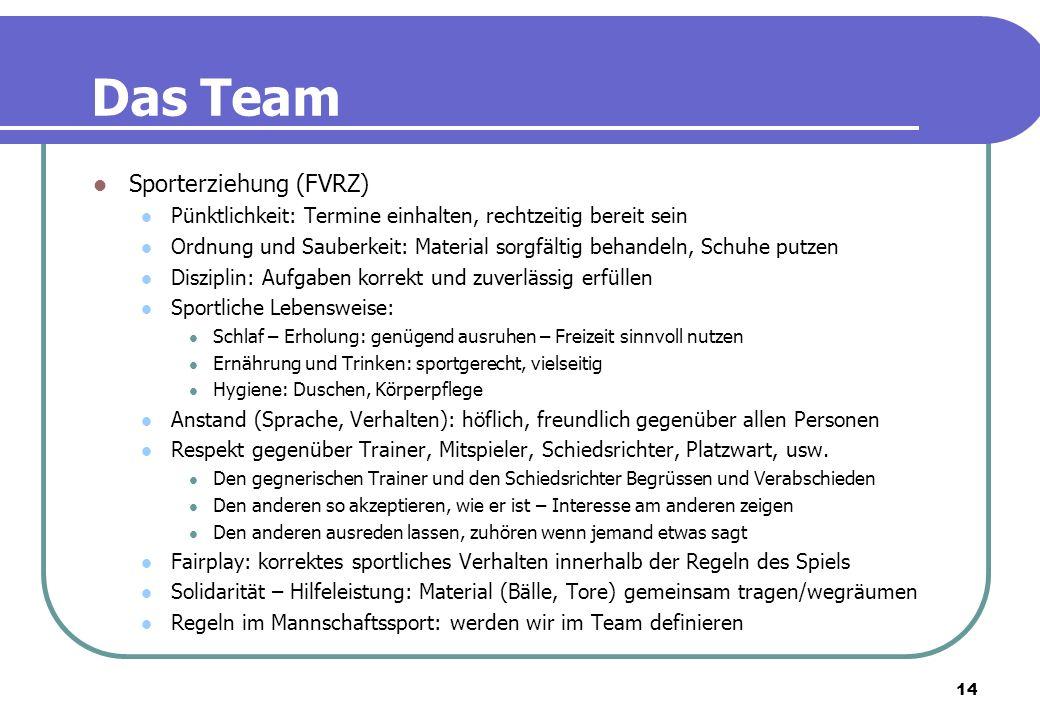 14 Das Team Sporterziehung (FVRZ) Pünktlichkeit: Termine einhalten, rechtzeitig bereit sein Ordnung und Sauberkeit: Material sorgfältig behandeln, Sch