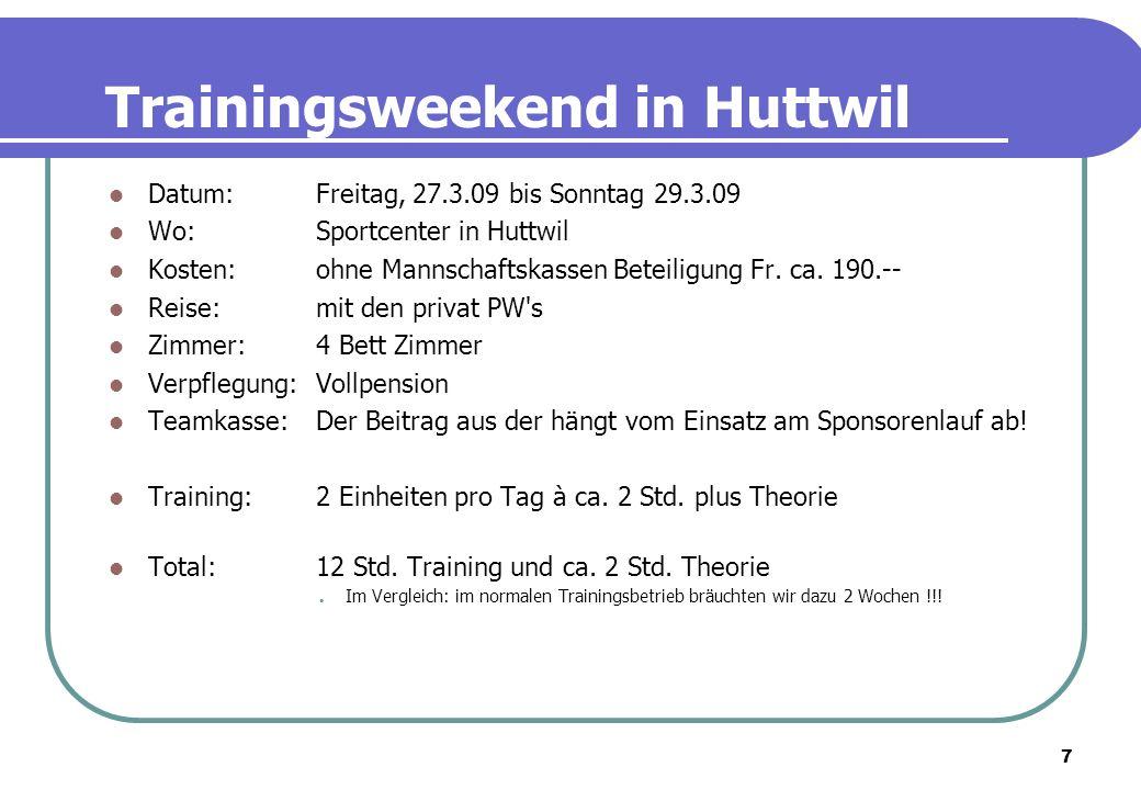 7 Trainingsweekend in Huttwil Datum: Freitag, 27.3.09 bis Sonntag 29.3.09 Wo: Sportcenter in Huttwil Kosten: ohne Mannschaftskassen Beteiligung Fr. ca