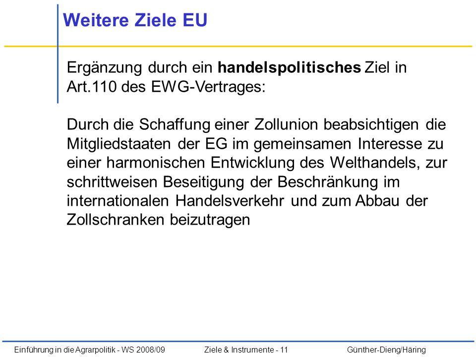 Einführung in die Agrarpolitik - WS 2008/09Ziele & Instrumente - 11 Günther-Dieng/Häring Weitere Ziele EU Ergänzung durch ein handelspolitisches Ziel