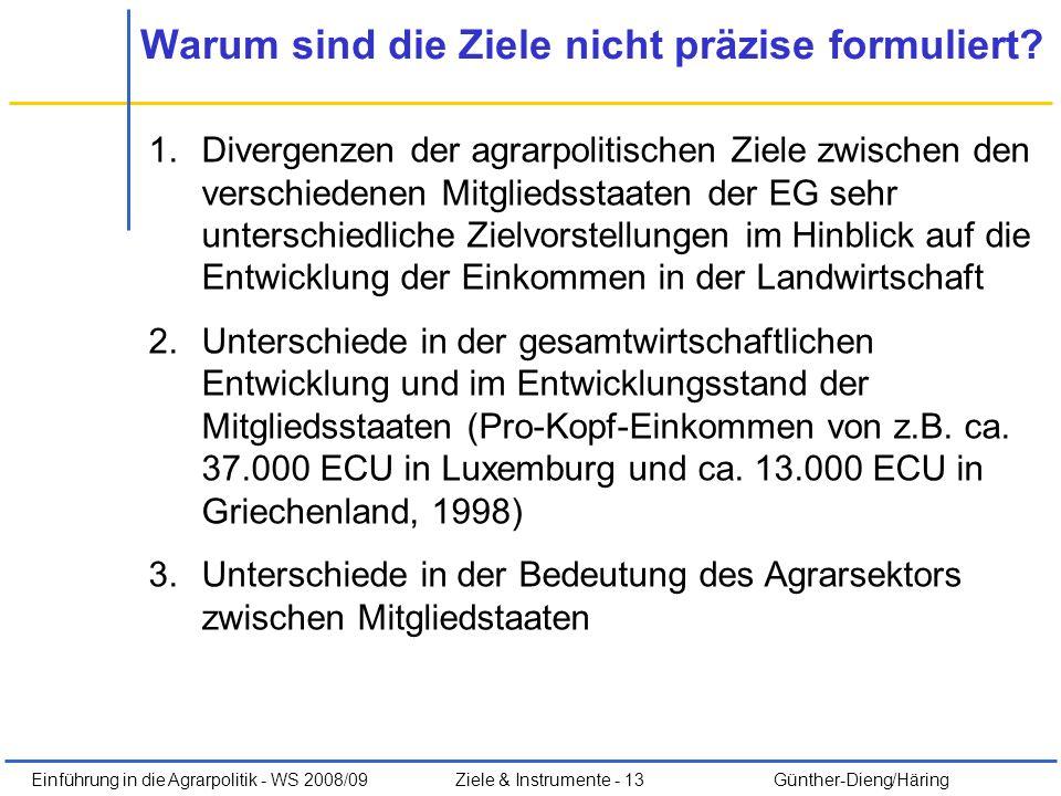 Einführung in die Agrarpolitik - WS 2008/09Ziele & Instrumente - 13 Günther-Dieng/Häring Warum sind die Ziele nicht präzise formuliert? 1.Divergenzen