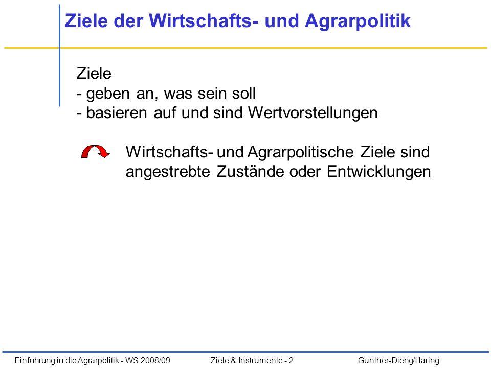 Einführung in die Agrarpolitik - WS 2008/09Ziele & Instrumente - 2 Günther-Dieng/Häring Ziele der Wirtschafts- und Agrarpolitik Ziele - geben an, was