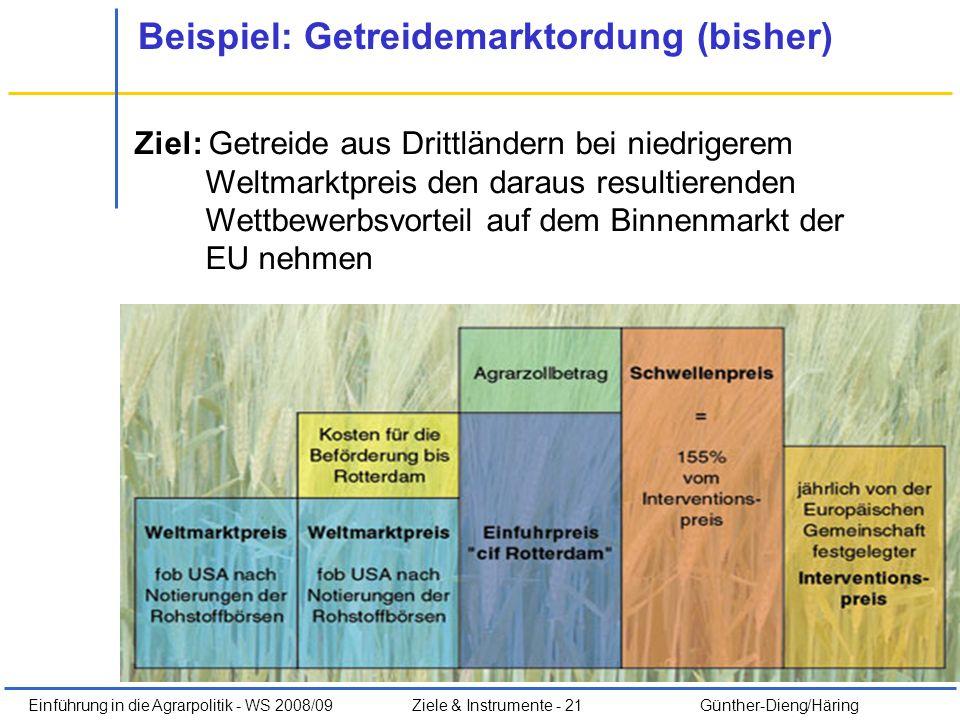 Einführung in die Agrarpolitik - WS 2008/09Ziele & Instrumente - 21 Günther-Dieng/Häring Beispiel: Getreidemarktordung (bisher) Ziel: Getreide aus Dri