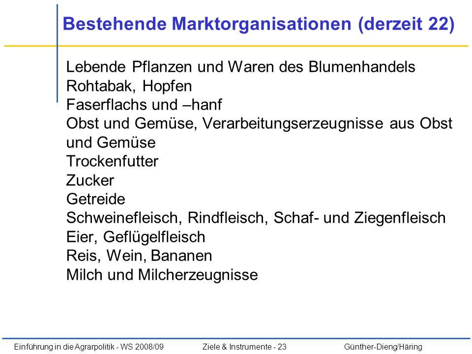 Einführung in die Agrarpolitik - WS 2008/09Ziele & Instrumente - 23 Günther-Dieng/Häring Lebende Pflanzen und Waren des Blumenhandels Rohtabak, Hopfen