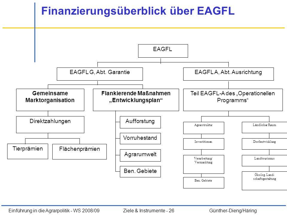 Einführung in die Agrarpolitik - WS 2008/09Ziele & Instrumente - 26 Günther-Dieng/Häring Finanzierungsüberblick über EAGFL Tierprämien EAGFL EAGFL A,