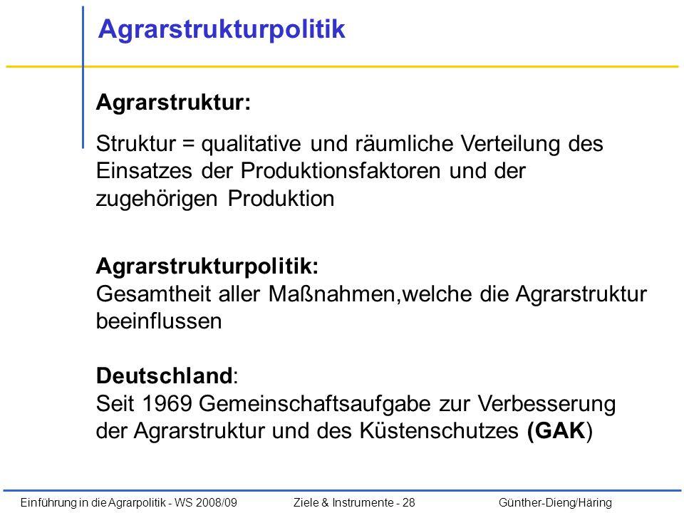 Einführung in die Agrarpolitik - WS 2008/09Ziele & Instrumente - 28 Günther-Dieng/Häring Agrarstrukturpolitik Agrarstruktur: Struktur = qualitative un