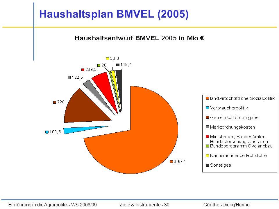 Einführung in die Agrarpolitik - WS 2008/09Ziele & Instrumente - 30 Günther-Dieng/Häring Haushaltsplan BMVEL (2005)