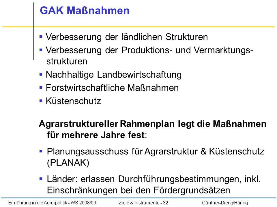 Einführung in die Agrarpolitik - WS 2008/09Ziele & Instrumente - 32 Günther-Dieng/Häring GAK Maßnahmen Verbesserung der ländlichen Strukturen Verbesse