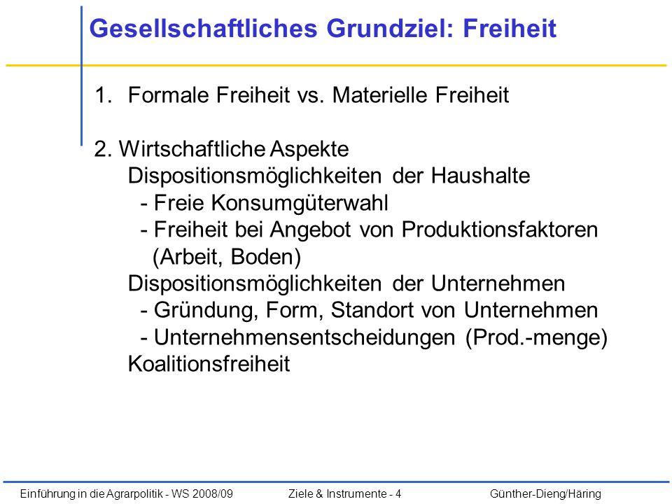 Einführung in die Agrarpolitik - WS 2008/09Ziele & Instrumente - 4 Günther-Dieng/Häring Gesellschaftliches Grundziel: Freiheit 1.Formale Freiheit vs.
