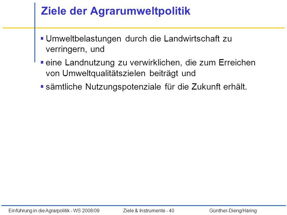 Einführung in die Agrarpolitik - WS 2008/09Ziele & Instrumente - 40 Günther-Dieng/Häring Ziele der Agrarumweltpolitik Umweltbelastungen durch die Land