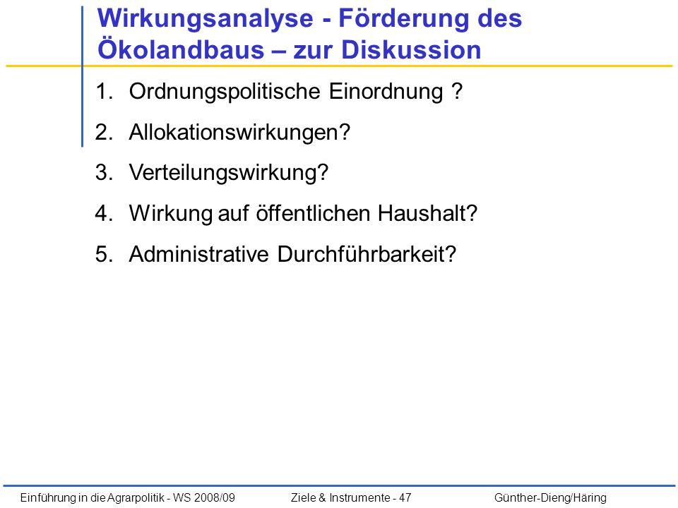 Einführung in die Agrarpolitik - WS 2008/09Ziele & Instrumente - 47 Günther-Dieng/Häring Wirkungsanalyse - Förderung des Ökolandbaus – zur Diskussion