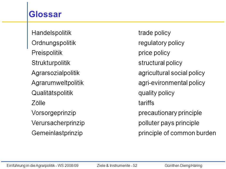Einführung in die Agrarpolitik - WS 2008/09Ziele & Instrumente - 52 Günther-Dieng/Häring Glossar Handelspolitiktrade policy Ordnungspolitikregulatory