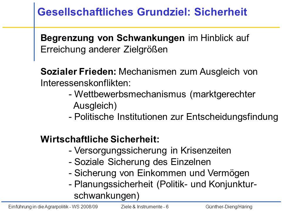 Einführung in die Agrarpolitik - WS 2008/09Ziele & Instrumente - 6 Günther-Dieng/Häring Gesellschaftliches Grundziel: Sicherheit Begrenzung von Schwan