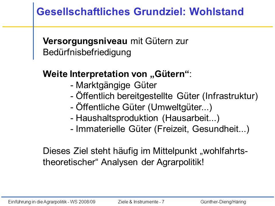 Einführung in die Agrarpolitik - WS 2008/09Ziele & Instrumente - 7 Günther-Dieng/Häring Gesellschaftliches Grundziel: Wohlstand Versorgungsniveau mit