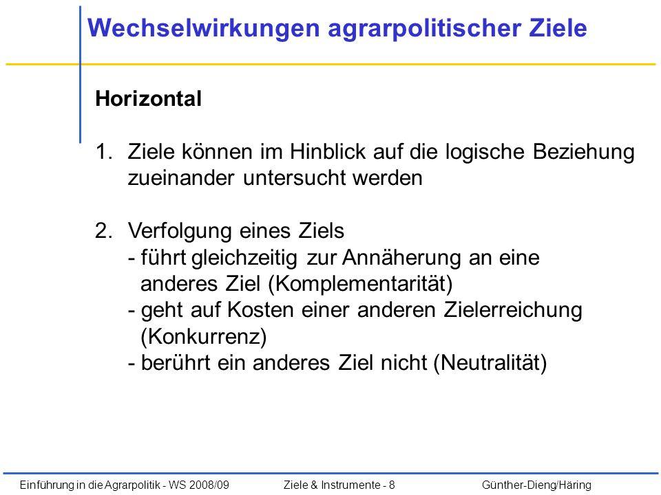 Einführung in die Agrarpolitik - WS 2008/09Ziele & Instrumente - 8 Günther-Dieng/Häring Wechselwirkungen agrarpolitischer Ziele Horizontal 1.Ziele kön
