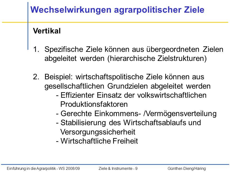 Einführung in die Agrarpolitik - WS 2008/09Ziele & Instrumente - 9 Günther-Dieng/Häring Wechselwirkungen agrarpolitischer Ziele Vertikal 1.Spezifische