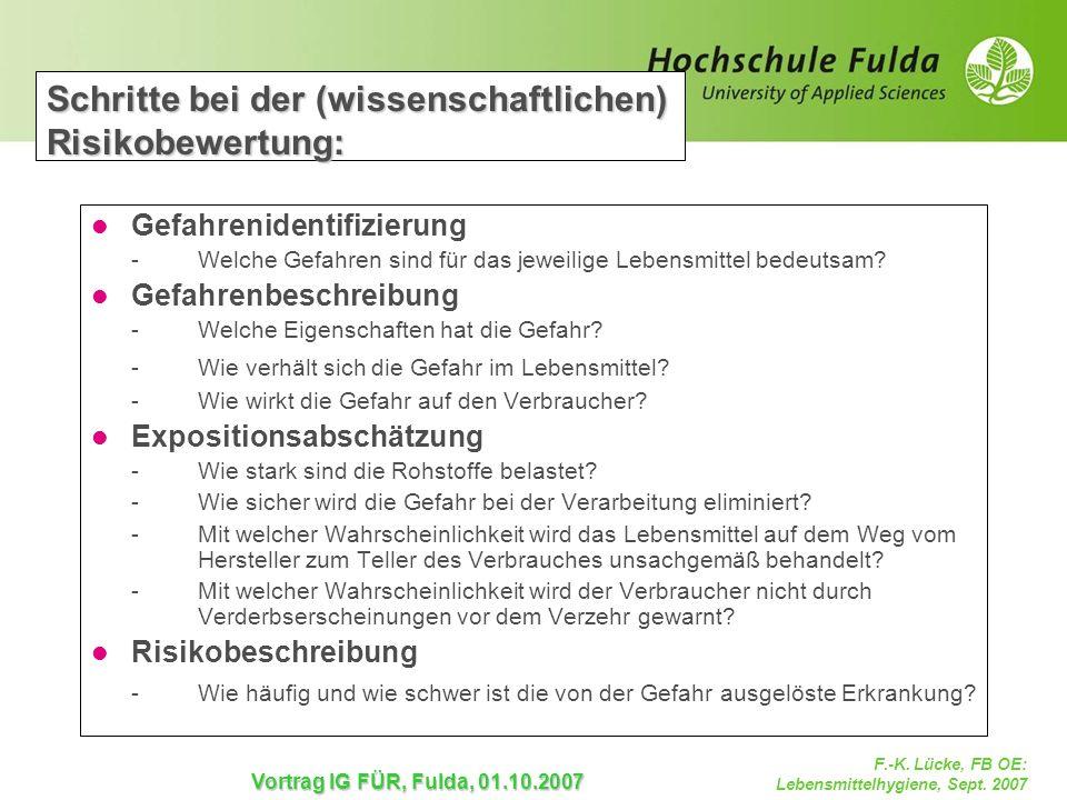 F.-K. Lücke, FB OE: Lebensmittelhygiene, Sept. 2007 Vortrag IG FÜR, Fulda, 01.10.2007 Schritte bei der (wissenschaftlichen) Risikobewertung: Gefahreni