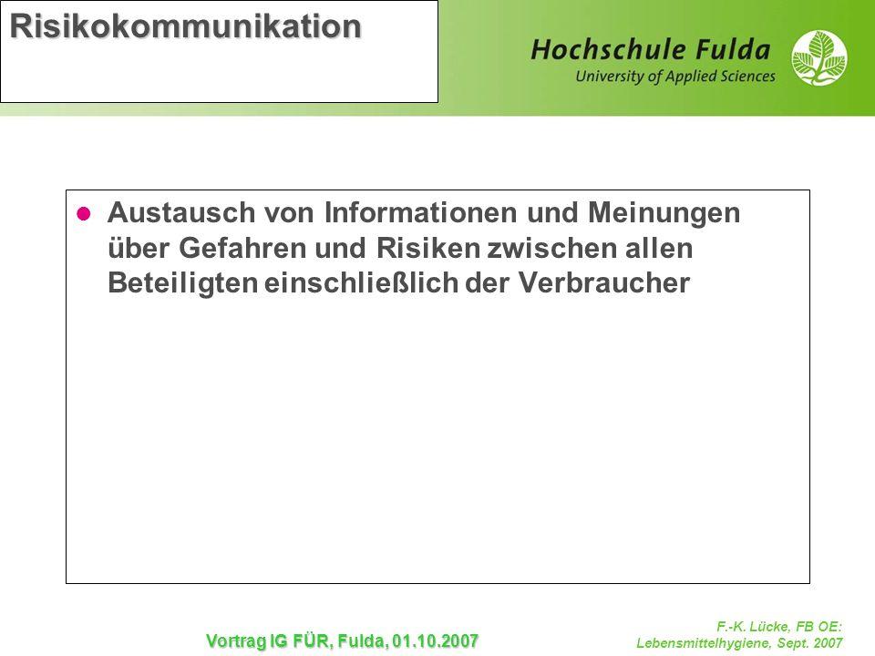 F.-K. Lücke, FB OE: Lebensmittelhygiene, Sept. 2007 Vortrag IG FÜR, Fulda, 01.10.2007 Risikokommunikation Austausch von Informationen und Meinungen üb