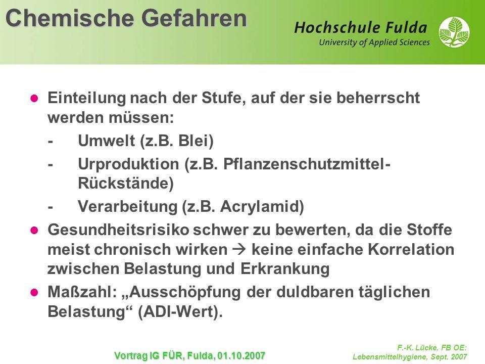 F.-K. Lücke, FB OE: Lebensmittelhygiene, Sept. 2007 Vortrag IG FÜR, Fulda, 01.10.2007 Chemische Gefahren Einteilung nach der Stufe, auf der sie beherr