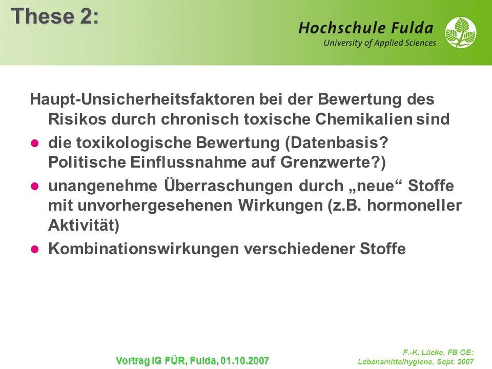F.-K. Lücke, FB OE: Lebensmittelhygiene, Sept. 2007 Vortrag IG FÜR, Fulda, 01.10.2007 These 2: Haupt-Unsicherheitsfaktoren bei der Bewertung des Risik