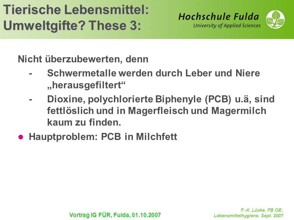F.-K. Lücke, FB OE: Lebensmittelhygiene, Sept. 2007 Vortrag IG FÜR, Fulda, 01.10.2007 Tierische Lebensmittel: Umweltgifte? These 3: Nicht überzubewert
