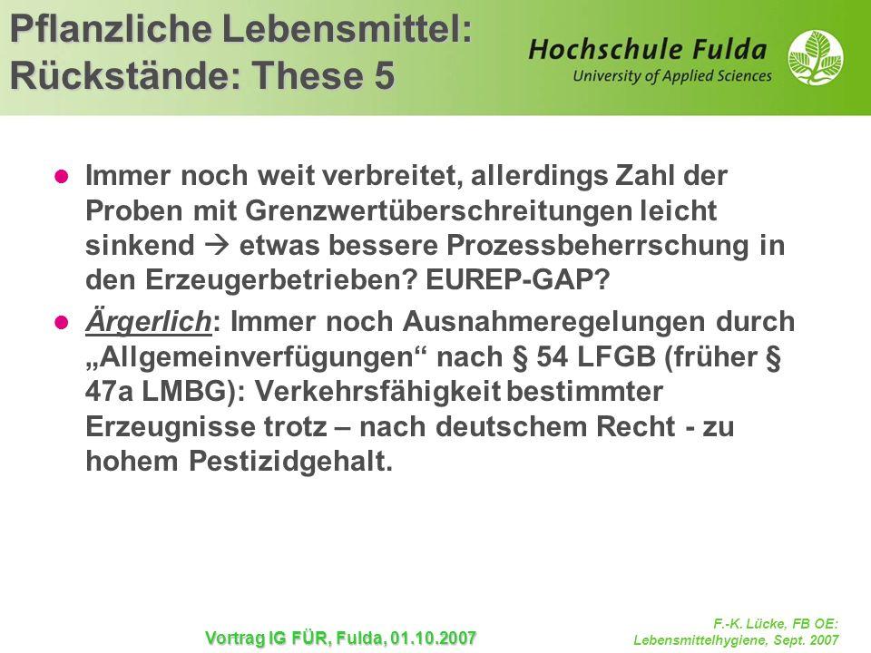 F.-K. Lücke, FB OE: Lebensmittelhygiene, Sept. 2007 Vortrag IG FÜR, Fulda, 01.10.2007 Immer noch weit verbreitet, allerdings Zahl der Proben mit Grenz