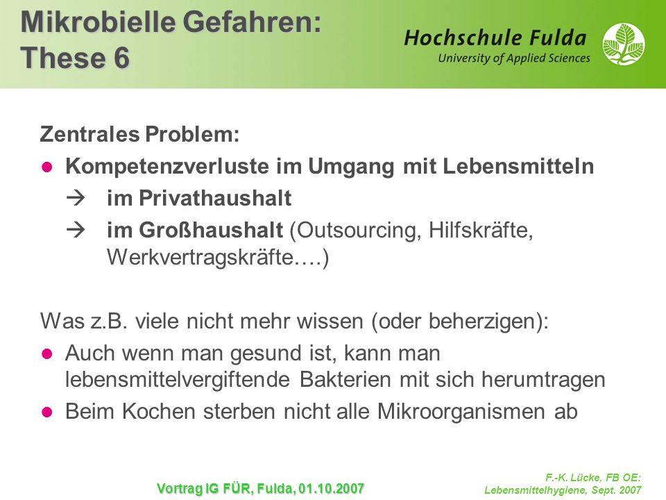 F.-K. Lücke, FB OE: Lebensmittelhygiene, Sept. 2007 Vortrag IG FÜR, Fulda, 01.10.2007 Mikrobielle Gefahren: These 6 Zentrales Problem: Kompetenzverlus
