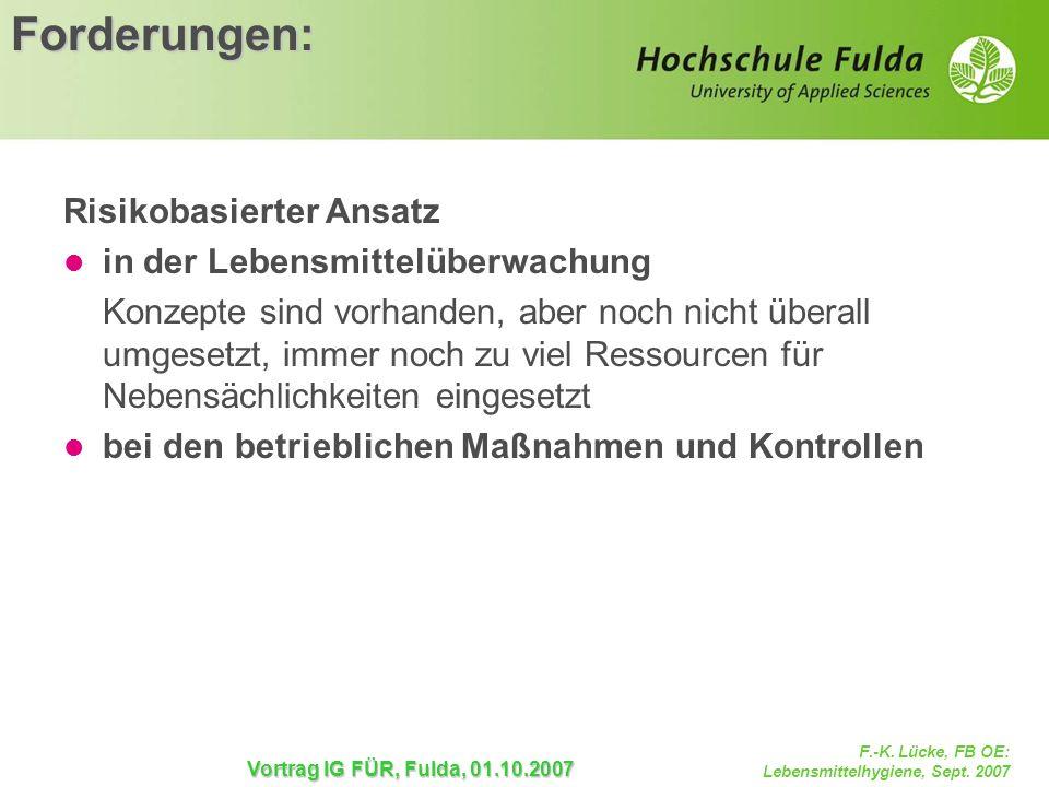 F.-K. Lücke, FB OE: Lebensmittelhygiene, Sept. 2007 Vortrag IG FÜR, Fulda, 01.10.2007 Forderungen: Risikobasierter Ansatz in der Lebensmittelüberwachu
