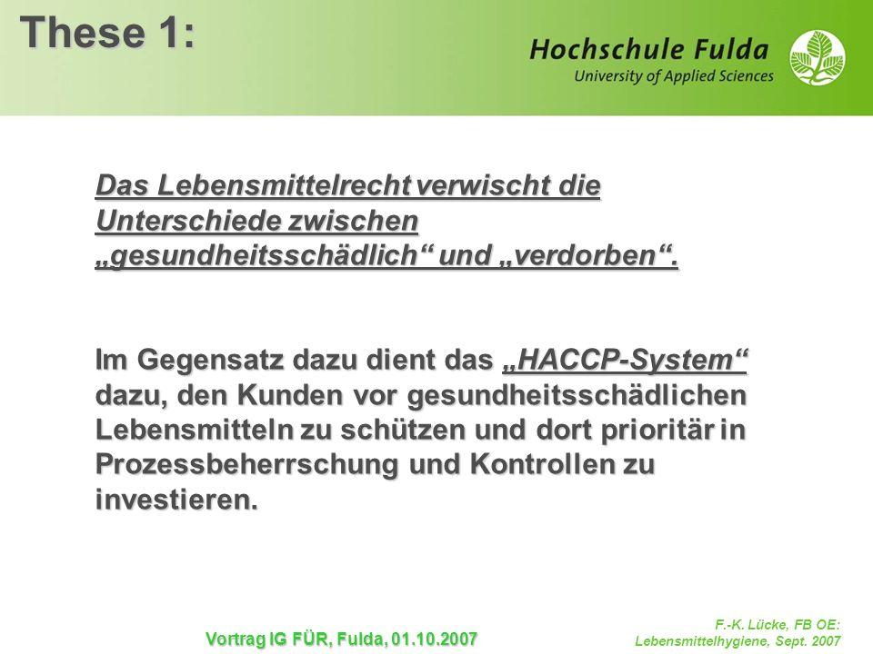 F.-K. Lücke, FB OE: Lebensmittelhygiene, Sept. 2007 Vortrag IG FÜR, Fulda, 01.10.2007 These 1: Das Lebensmittelrecht verwischt die Unterschiede zwisch