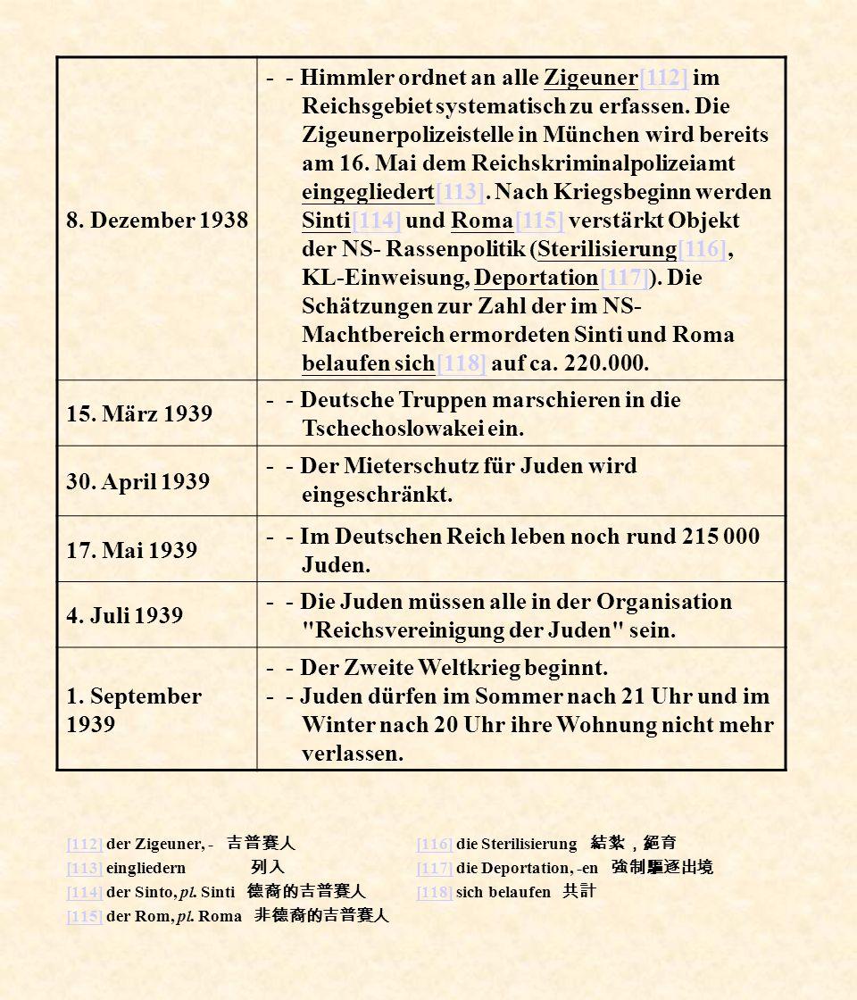 [112][112] der Zigeuner, - [113][113] eingliedern [114][114] der Sinto, pl. Sinti [115][115] der Rom, pl. Roma [116][116] die Sterilisierung [117][117