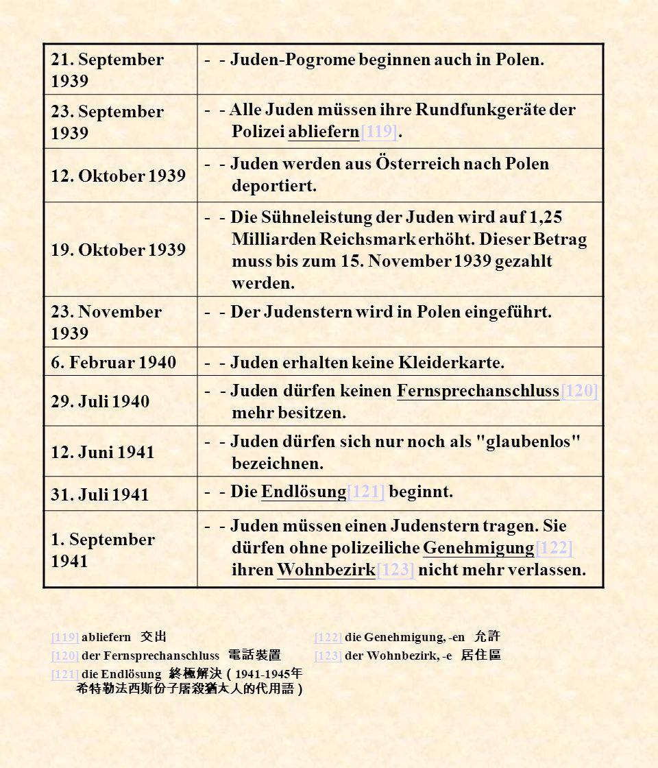 [119][119] abliefern [120][120] der Fernsprechanschluss [121][121] die Endlösung 1941-1945 [122][122] die Genehmigung, -en [123][123] der Wohnbezirk,