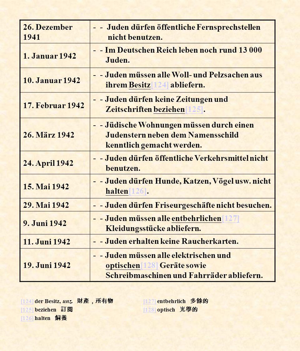 [124][124] der Besitz, unz. [125][125] beziehen [126][126] halten [127][127] entbehrlich [128][128] optisch 26. Dezember 1941 - - Juden dürfen öffentl