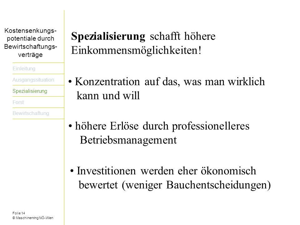 Folie 14 © Maschinenring NÖ-Wien Titel der Präsentation dreizeilig Einleitung Ausgangssituation Spezialisierung Forst Bewirtschaftung Konzentration auf das, was man wirklich kann und will Spezialisierung schafft höhere Einkommensmöglichkeiten.