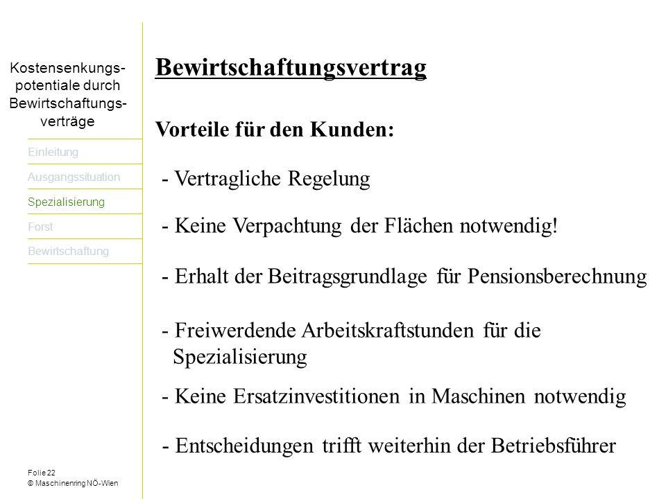 Folie 22 © Maschinenring NÖ-Wien Titel der Präsentation dreizeilig Einleitung Ausgangssituation Spezialisierung Forst Bewirtschaftung Bewirtschaftungsvertrag Vorteile für den Kunden: - Vertragliche Regelung - Keine Verpachtung der Flächen notwendig.