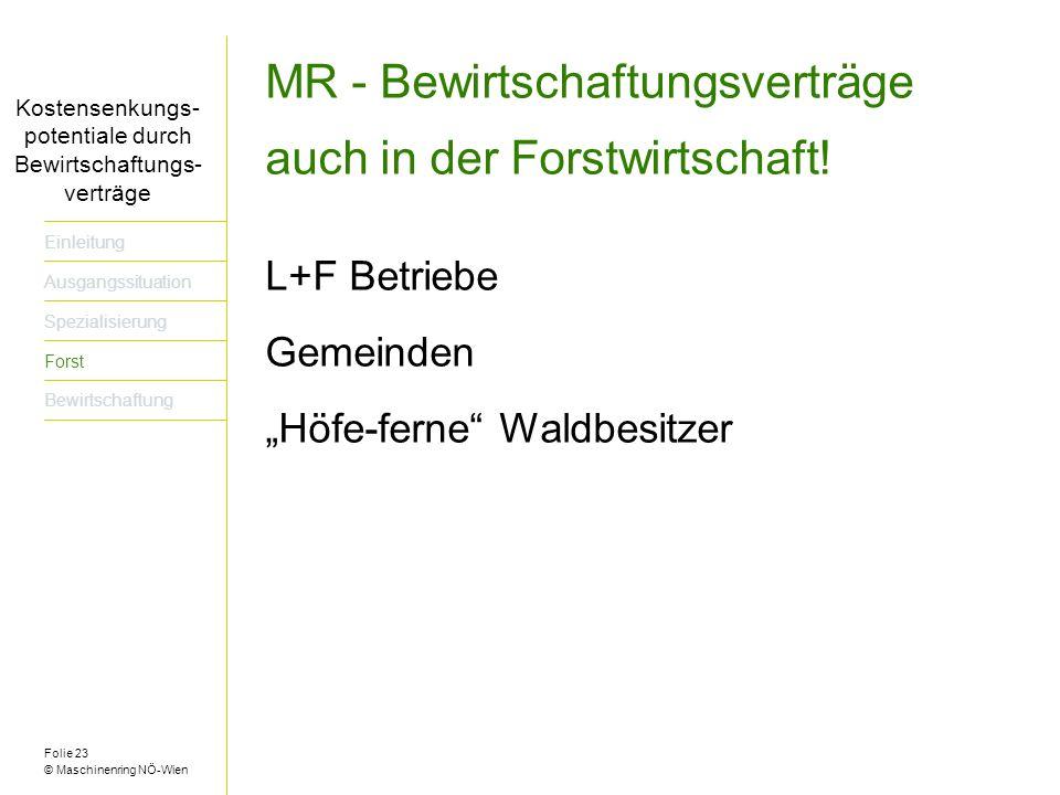 Folie 23 © Maschinenring NÖ-Wien Titel der Präsentation dreizeilig Einleitung Ausgangssituation Spezialisierung Forst Bewirtschaftung Kostensenkungs- potentiale durch Bewirtschaftungs- verträge MR - Bewirtschaftungsverträge auch in der Forstwirtschaft.