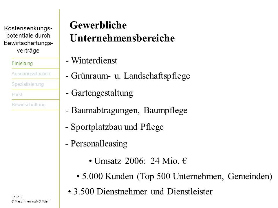 Folie 16 © Maschinenring NÖ-Wien Titel der Präsentation dreizeilig Einleitung Ausgangssituation Spezialisierung Forst Bewirtschaftung Spezialisierung bedeutet bzw.