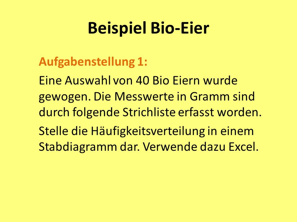 Beispiel Bio-Eier Aufgabenstellung 1: Eine Auswahl von 40 Bio Eiern wurde gewogen. Die Messwerte in Gramm sind durch folgende Strichliste erfasst word