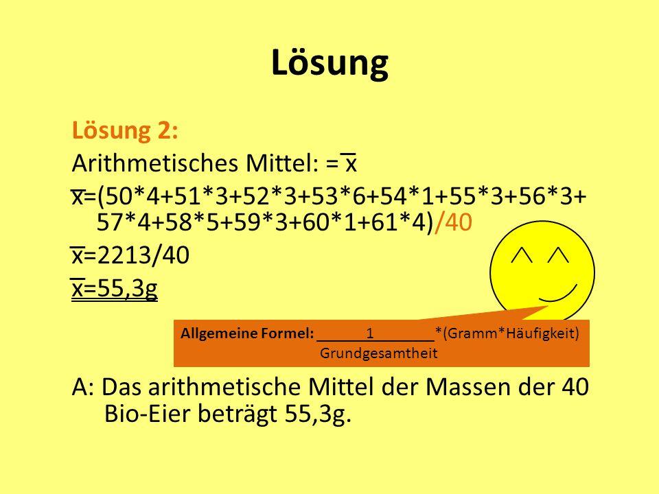 Lösung Lösung 2: Arithmetisches Mittel: = x x=(50*4+51*3+52*3+53*6+54*1+55*3+56*3+ 57*4+58*5+59*3+60*1+61*4)/40 x=2213/40 x=55,3g A: Das arithmetische